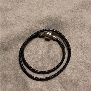 Black Leather Double Wrap Pandora Bracelet